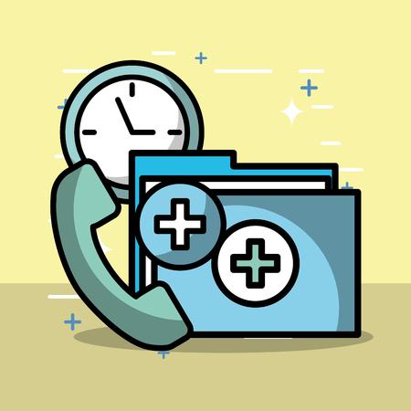 telephone file report clock health medical vector illustration Banque d'images - 102108788