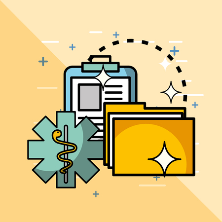 clipboard file archive and caduceus health medical vector illustration