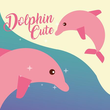 cute pink dolphin sea life animals nature vector illustration Vettoriali