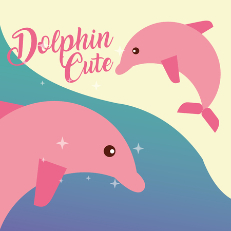 cute pink dolphin sea life animals nature vector illustration  イラスト・ベクター素材