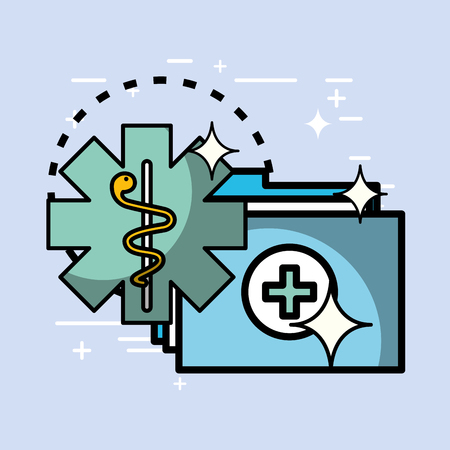 folder report history caduceus health medical vector illustration   向量圖像