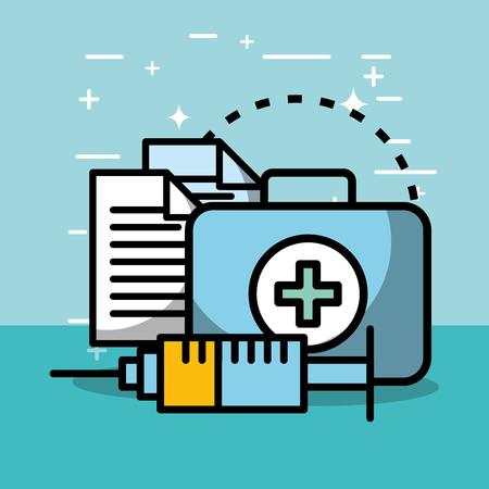 kit first aid syringe report health medical vector illustration   Ilustracja