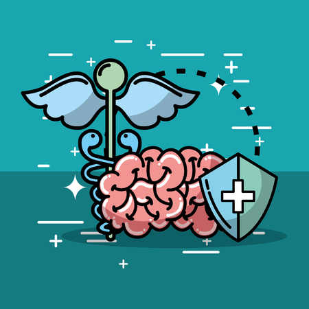 caduceus mental brain and shield health medical vector illustration