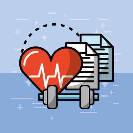 heartbeat cardio weight loss report health medical vector illustration