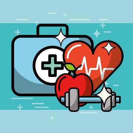 heartbeat cardio kit first aid apple dumbbell health medical vector illustration