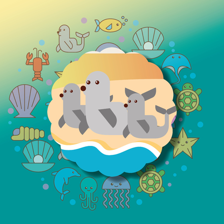 monk seals sea life cartoon animals label vector illustration