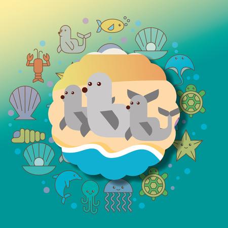 monk seals sea life cartoon animals label vector illustration