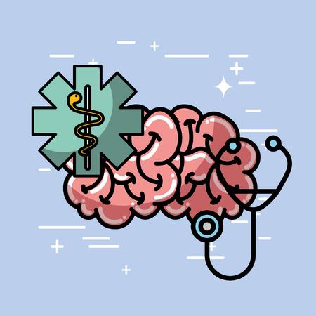 mental human brain stethoscope health medical vector illustration   Illustration