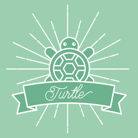 poster sunburst style sea life turtle vector illustration