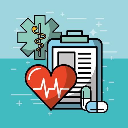 heartbeat cardio clipboard health medical vector illustration