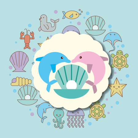 dolphins and clam pearl sea life cartoon animals label vector illustration