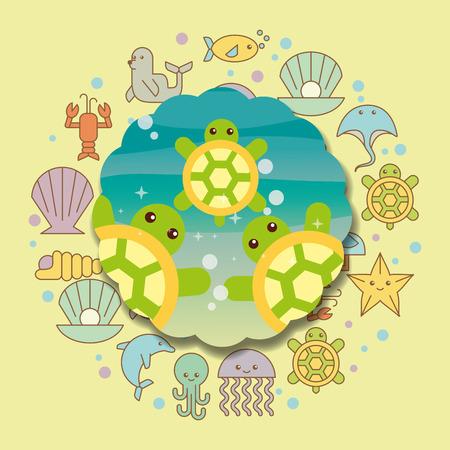 turtles sea life cartoon animals label vector illustration Vektorové ilustrace