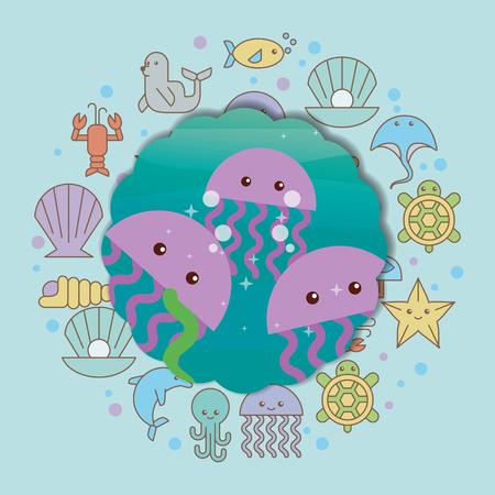 jellyfishes sea life cartoon animals label vector illustration