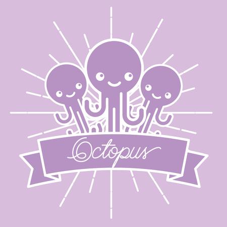 poster sunburst style sea life octopus vector illustration Illustration