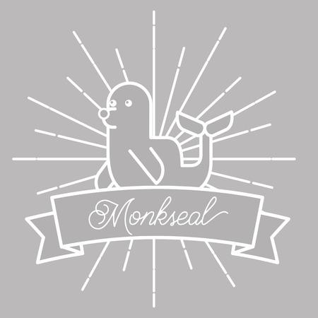 poster sunburst style sea life monk seal vector illustration 일러스트