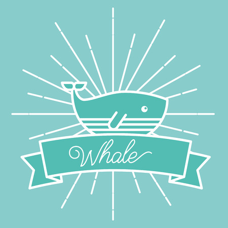 poster sunburst style sea life whale vector illustration