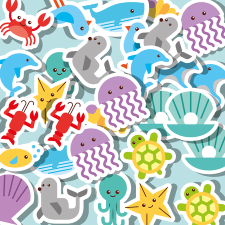 jellyfish starfish whale seal dolphin turtle sea life pattern vector illustration