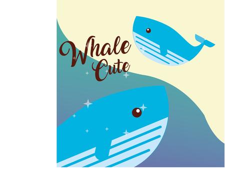 cute whale sea life animals nature vector illustration