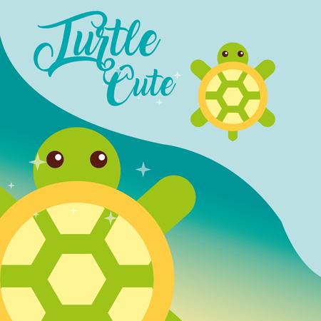 cute turtle sea life animals nature vector illustration