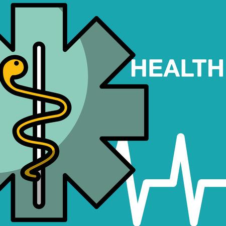 emblem medicine antique caduceus health medical vector illustration Stock Vector - 102077290