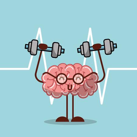 cartoon brain lifting dumbbell mental health medical vector illustration   일러스트