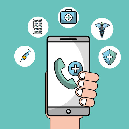 hand with phone telephone emergency health medical app vector illustration Banque d'images - 102108726