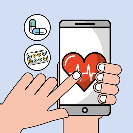 hand with phone heartbeat cardio health medical app vector illustration
