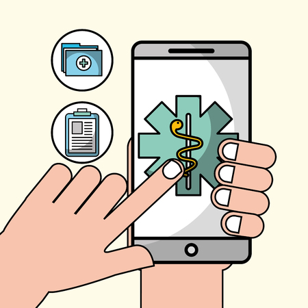 hand with phone contact urgency health medical app vector illustration