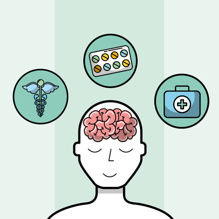 silhouette man brain medicine mental health medical vector illustration Banco de Imagens - 102108735