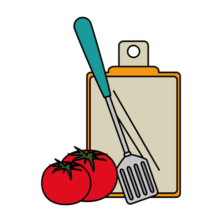 fresh tomato with cutting board and cutlery vector illustration design