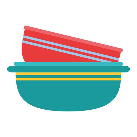 kitchen bowls pile empty icon vector illustration design