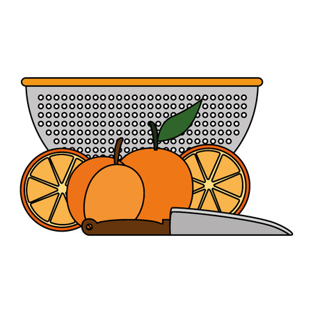 fresh oranges fruits in kitchen colander vector illustration design