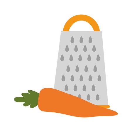 fresh carrot with grater vegetarian food vector illustration design  イラスト・ベクター素材
