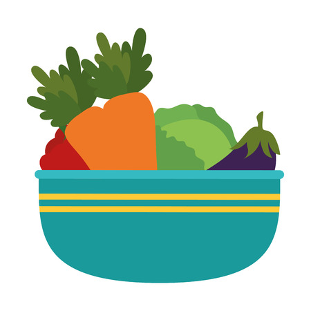 vegetables in kitchen bowl vector illustration design