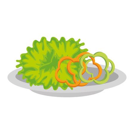 delicious lettuce and pepper vegetable salad on plate vector illustration design