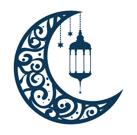 ramadan kareem moon with lamps hanging vector illustration design