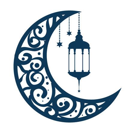 ramadan kareem-maan met lampen die vectorillustratieontwerp hangen