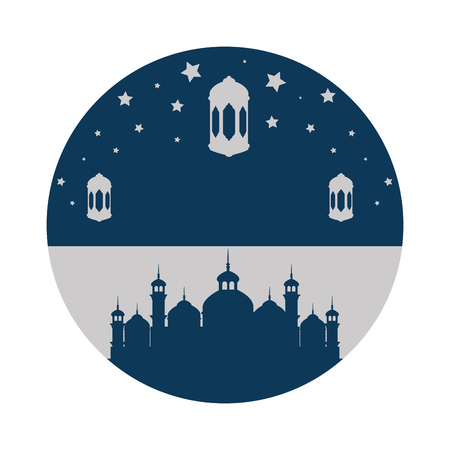 jerusalem temple with lamps hanging ramadan kareem vector illustration