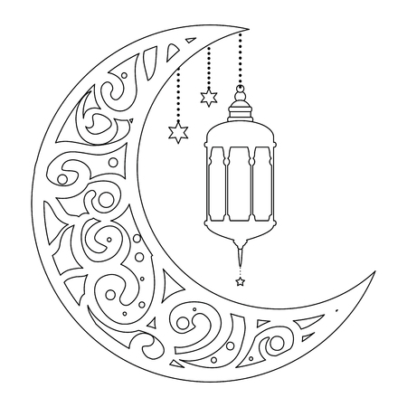 ramadan kareem moon with lamps hanging vector illustration design