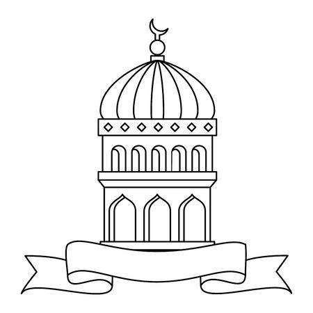 jerusalem temple dome with ribbon ramadan kareem vector illustration design
