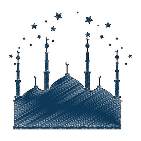 jerusalem temple with stars ramadan kareem vector illustration design 일러스트