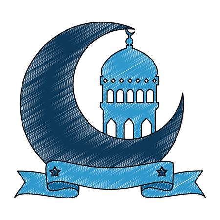 ramadan kareem moon with temple dome vector illustration design