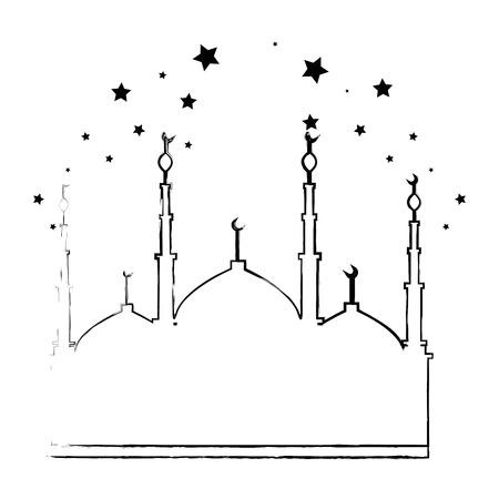 jerusalem temple with stars ramadan kareem vector illustration design Stock Illustratie