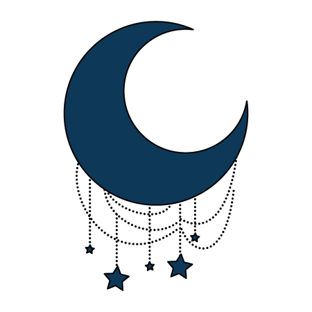 ramadan kareem moon with stars hanging vector illustration design
