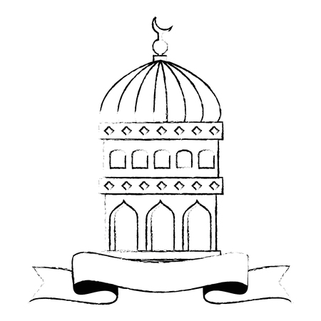 jerusalem temple dome with ribbon ramadan kareem vector illustration design