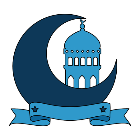 ramadan kareem moon with temple dome vector illustration design