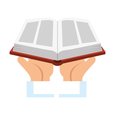 hands lifting sacred book religious vector illustration design