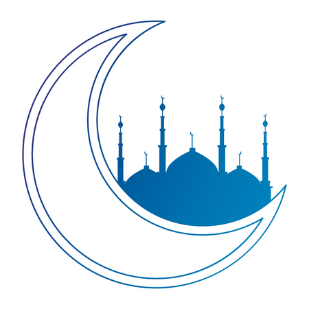 ramadan kareem moon with jerusalem temple vector illustration design