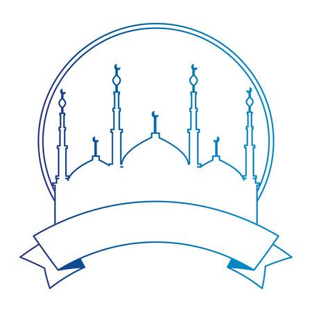 jerusalem temple with ribbon ramadan kareem vector illustration design