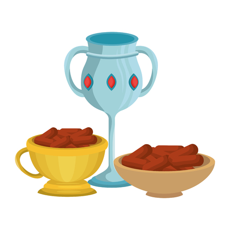sacred chalice cup and ramadan food vector illustration design